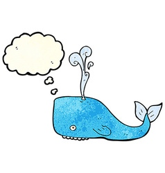 Cartoon whale with thought bubble vector
