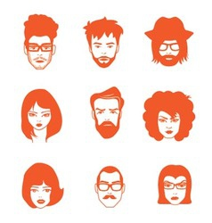 CHARACTERS FACES vector image