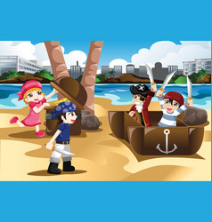 Children playing as pirates vector