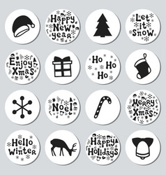 Christmas new year gift round stickers labels vector