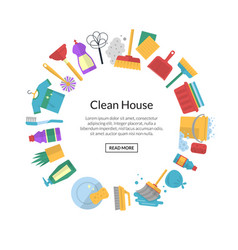 cleaning flat icons with place for text vector image