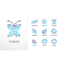 collection logos technology biotechnology vector image