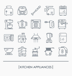 collection of kitchen appliances icons vector image