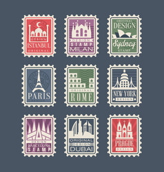 Collection of stamps from different countries with vector