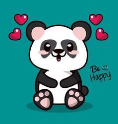 color background with kawaii animal bear panda and vector image