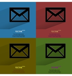 Color set mail envelope Flat modern web button vector image