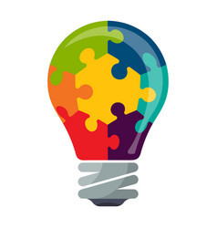 Colorful bulb icon with puzzle concept vector