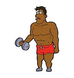 Comic cartoon man lifting weights vector