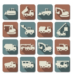 Construction Machines Flat Icons vector image