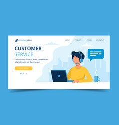 customer service landing page man with headphones vector image