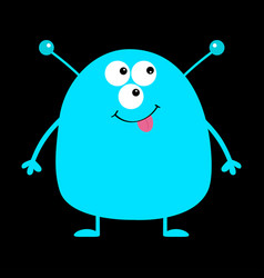 cute blue monster icon happy halloween cartoon vector image