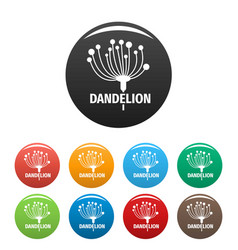 Cute dandelion logo icons set color vector