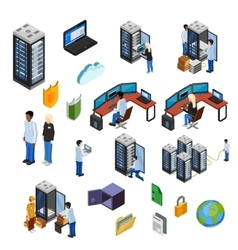 Datacenter Isometric Isolated Icons Set vector