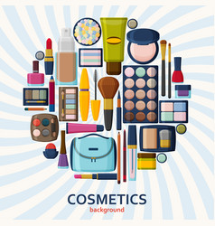 Decorative cosmetics for face lips skin eyes vector