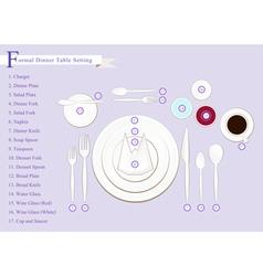 Dinner Table Setting Diagram vector