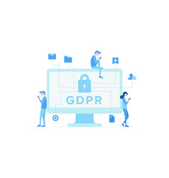 display of computer with inscription gdpr vector image
