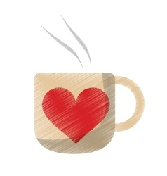 Drawing cup coffee love heart hot vector