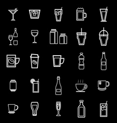 Drink line icons on black background vector image