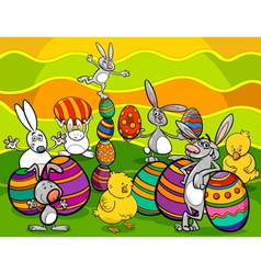 Easter characters group cartoon vector