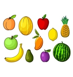 Farm colorful sweet fruits in cartoon style vector image