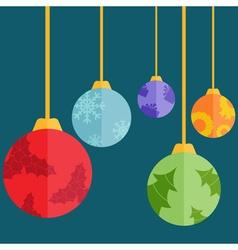 Flat design christmas balls vector image
