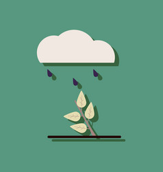Flat icon design collection rain and bush in vector