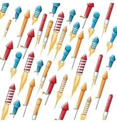 flying firecracker pattern background vector image