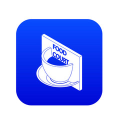 Food court icon blue vector