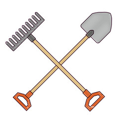 Gardening shovel with rake vector