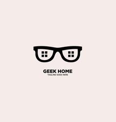 Geek home logo template vector