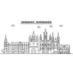 Germany wiesbaden architecture line skyline vector