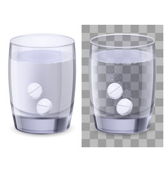 Glass of water and pills on white vector