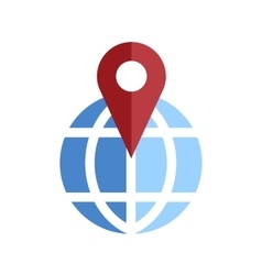 Globe pin icon vector image