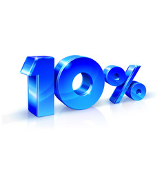 Glossy blue 10 ten percent off sale isolated on vector