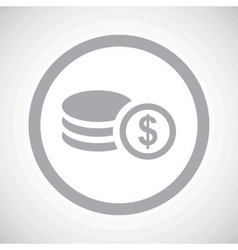 Grey dollar rouleau sign icon vector