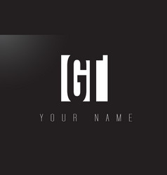 Gt letter logo with black and white negative vector