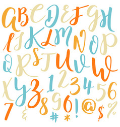 hand drawn alphabet calligraphy letters vector image