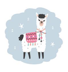 hand drawn cartoon llama character isolated vector image