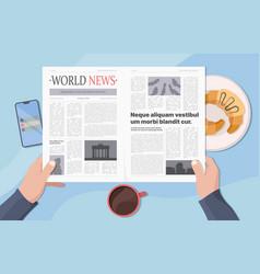 hands holding newspaper businessman reading news vector image