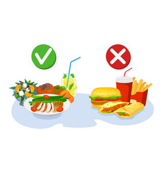 Healthy and fastfood choice good nutrition or vector