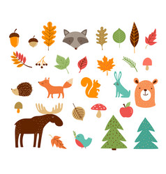 hello autumn fall season collection forest vector image