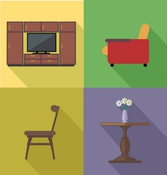 Home decoration icon set flat style Digital image vector image