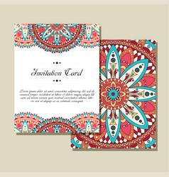 Invitation graphic card with mandala decorative vector