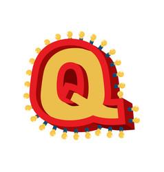Letter q lamp glowing font vintage light bulb vector