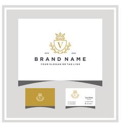Letter v attorney shield logo design and business vector