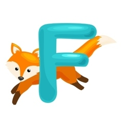 letter with animal fox for abc education in vector image