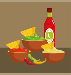 Mexican spicy sauces traditional food vector