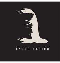 negative space concept of spartan head in wing of vector image