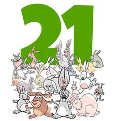 Number twenty one and cartoon rabbits group vector