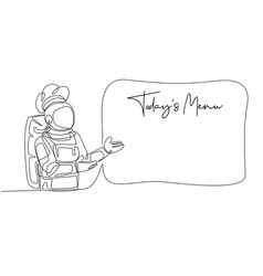 One single line drawing young astronaut chef vector